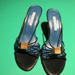 Charles david Black Wedge Thin Strapped Sandals 9